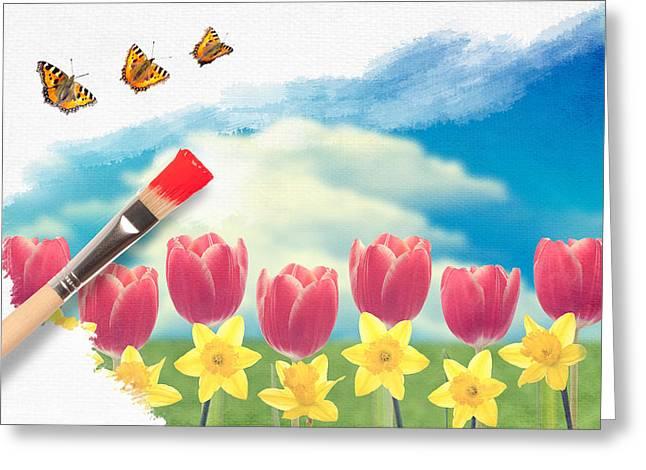 Painting Tulips Greeting Card by Amanda Elwell