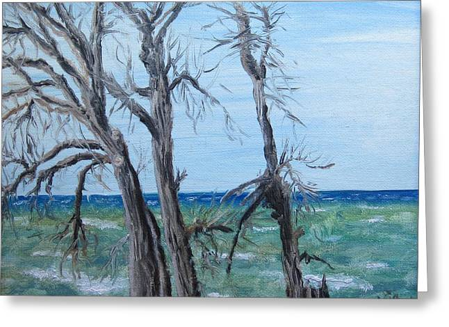 Painting - Waiting For Spring - Lake Ontario Greeting Card by Judy Via-Wolff