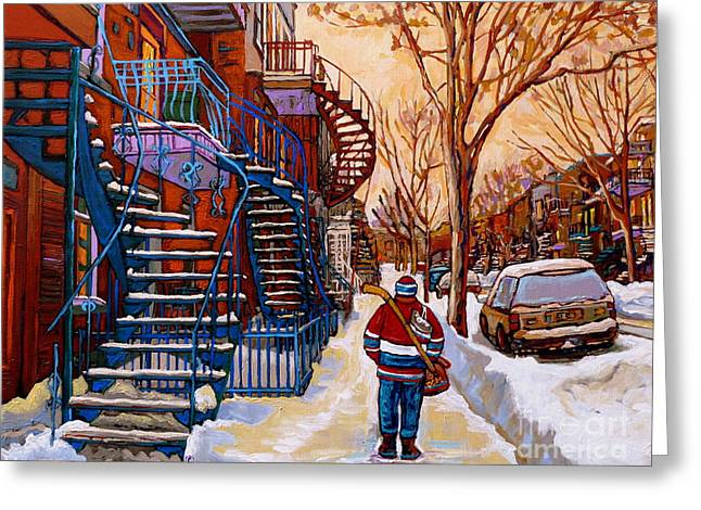 Paintings Of Montreal Beautiful Staircases In Winter Walking Home After The Game By Carole Spandau Greeting Card