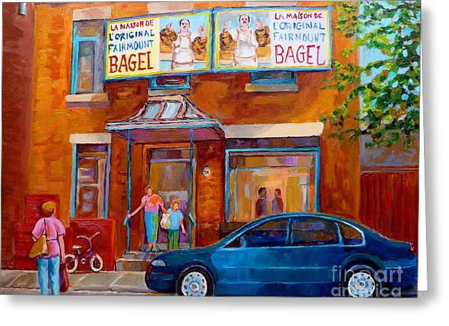 Paintings Of Montreal Fairmount Bagel Shop Greeting Card by Carole Spandau