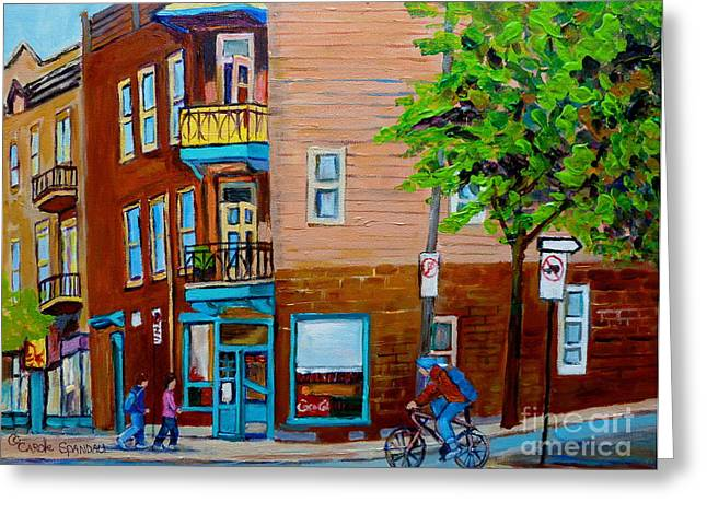Paintings Of Montreal Streets Wilenskys Lunch Counter Greeting Card by Carole Spandau