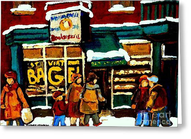 Paintings Of St Viateur Bagel Bakery Montreal Depanneur Deli Boulangerie Art Cityscene C Spandau Greeting Card by Carole Spandau