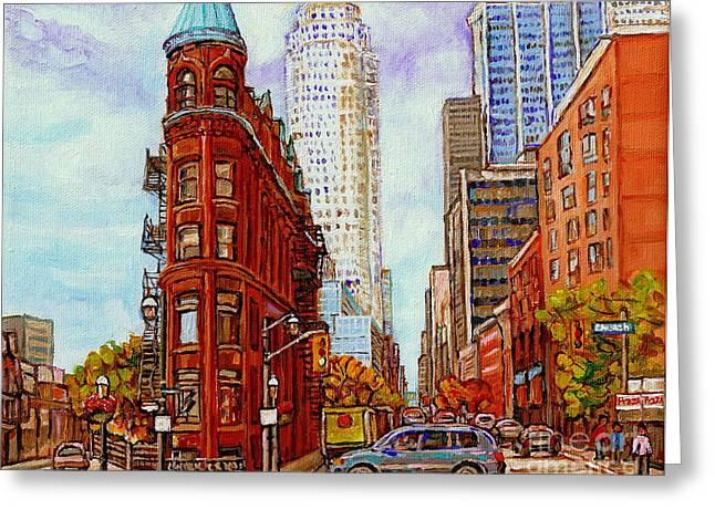 Paintings Of Toronto The Flat Iron Building Front Street And Church Toronto Skyline Art C Spandau Greeting Card by Carole Spandau