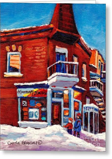 Paintings Of Verdun Depanneur 7 Jours Montreal Winter Street Scenes By Carole Spandau Greeting Card by Carole Spandau