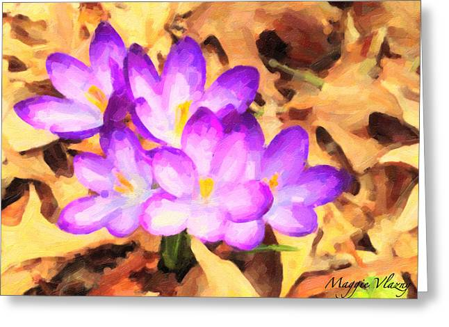 Paintography Of Spring Crocus Greeting Card by Maggie Vlazny