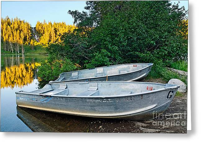 Pair Of Boats On A Lake In Mammoth Lakes During Sunrise In California Greeting Card