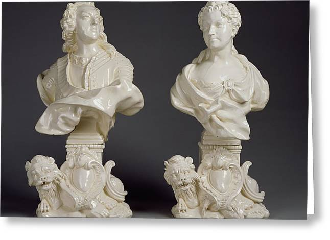 Pair Of Busts Louis Xv And Marie Leczinska Rue De Charenton Greeting Card by Litz Collection