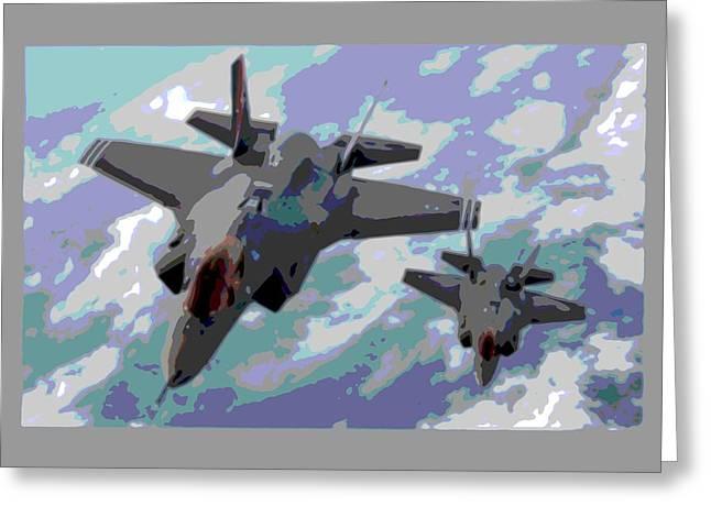 Pair Of F-35 Lightenings In Formation Enhanced Greeting Card