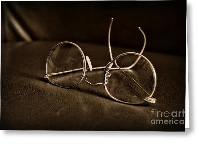 Pair Of Glasses Black And White Greeting Card by Paul Ward