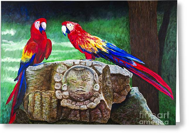 Pair Of Parrots By Barbara Heinrichs Greeting Card by Sheldon Kralstein