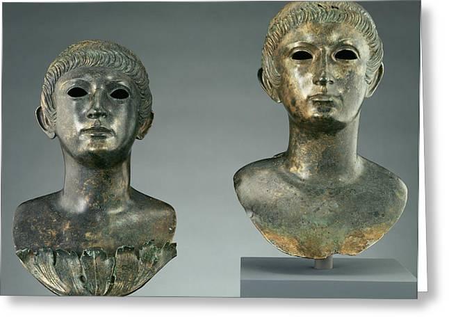 Pair Of Portrait Busts Of Youths And Two Marble Eyes Greeting Card by Litz Collection