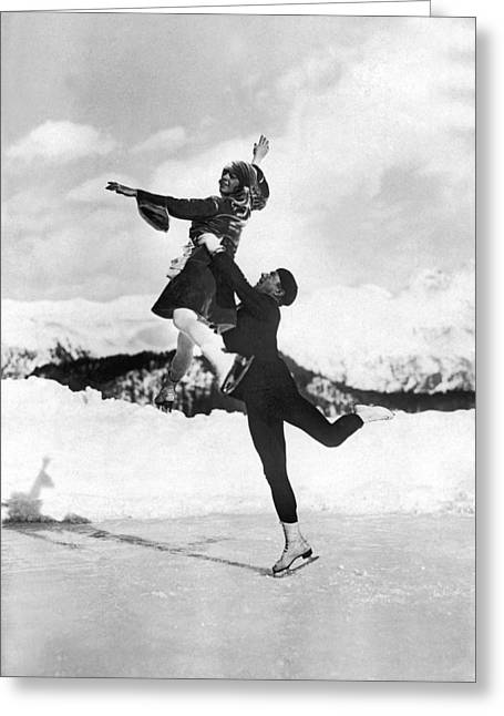 Pairs Skaters Doing A Lift Greeting Card by Underwood Archives