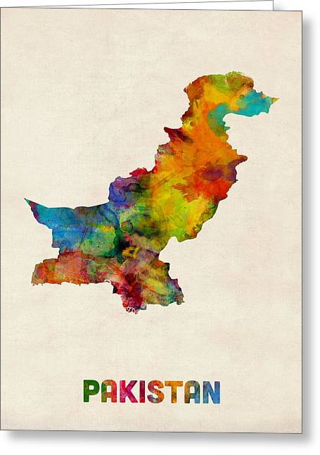 Pakistan Watercolor Map Greeting Card by Michael Tompsett