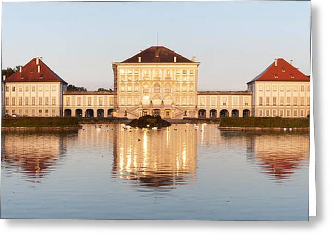 Palace At The Waterfront, Nymphenburg Greeting Card by Panoramic Images