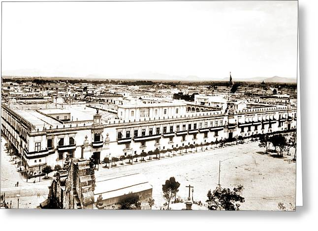 Palace From Cathedral, City Of Mexico, Mex, Jackson Greeting Card
