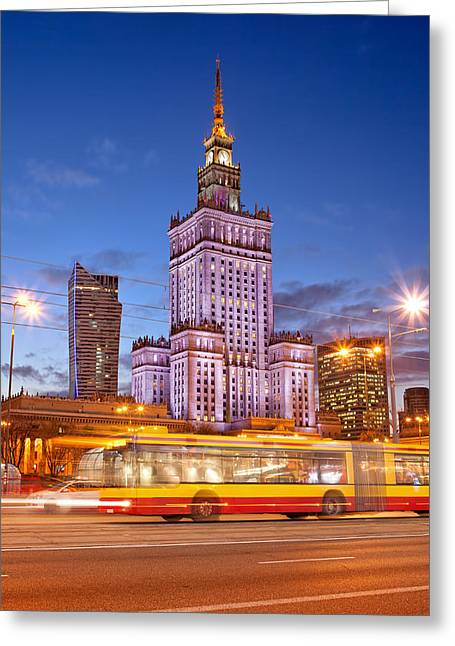 Palace Of Culture And Science In Warsaw At Dusk Greeting Card by Artur Bogacki