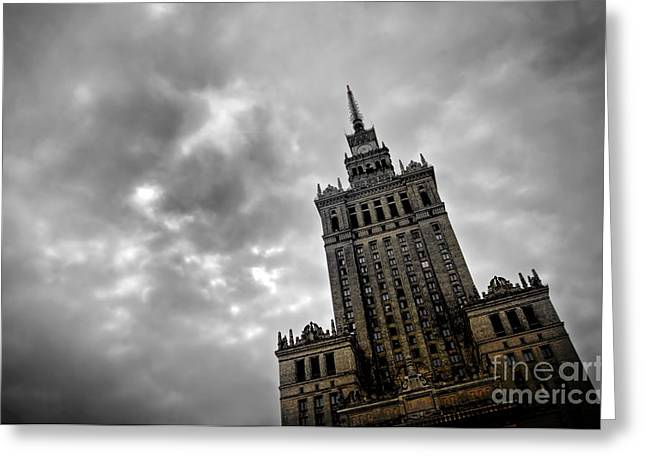 Palace Of Culture And Science In Warsaw Greeting Card by Michal Bednarek