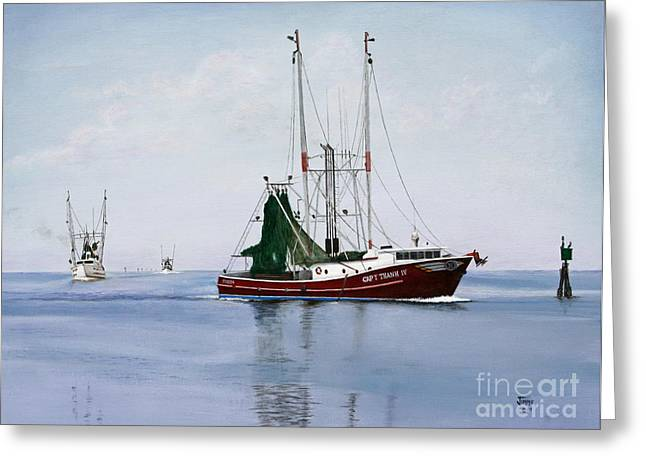 Greeting Card featuring the painting Palacios Boats by Jimmie Bartlett