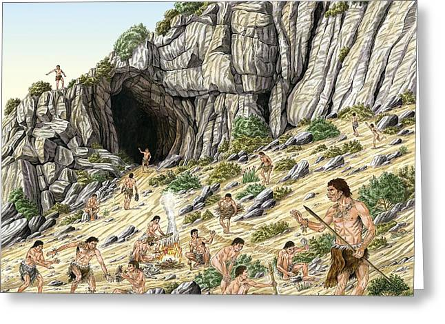 Palaeolithic Human Culture, Artwork Greeting Card by Luis Montanya/marta Montanya/sciencephotolibrary