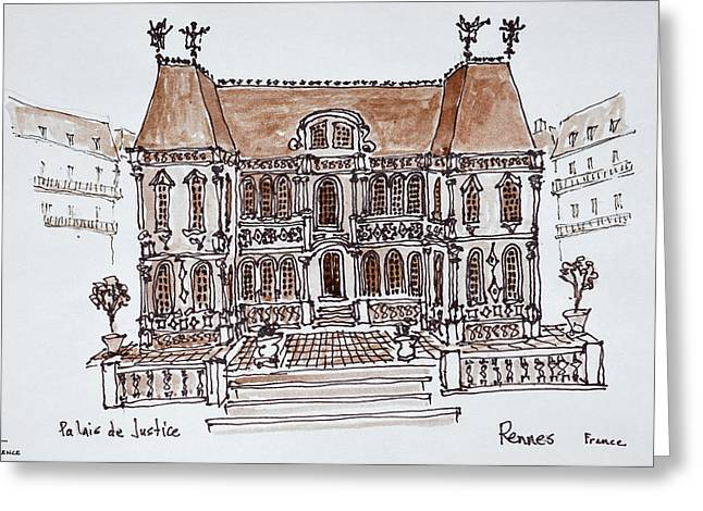 Palais De Justice Courthouse, Rennes Greeting Card