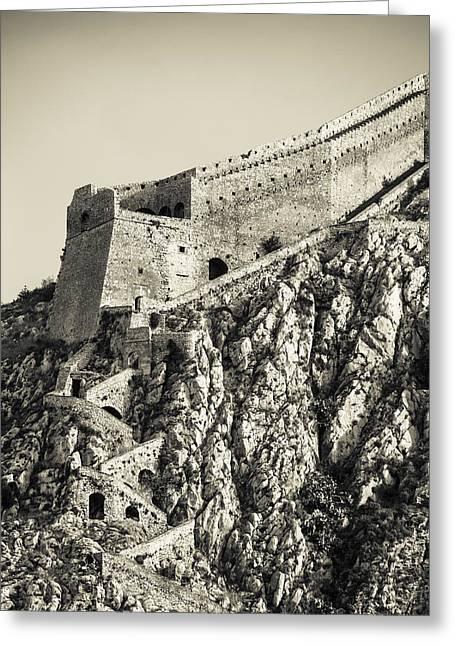 Palamidi Fortress Stairs Greeting Card by David Waldo