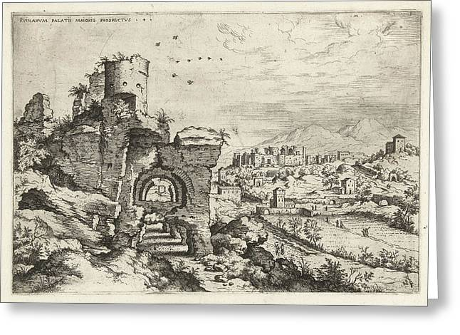 Palatine At The Baths Of Caracalla, Print Maker Hieronymus Greeting Card