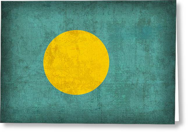 Palau Flag Vintage Distressed Finish Greeting Card by Design Turnpike