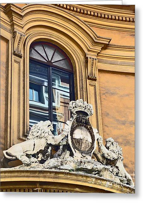 Palazzo Lions Greeting Card by Cheryl Del Toro