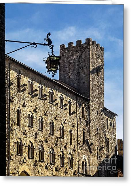 Palazzo Pretorio And The Tower Of Little Pig Greeting Card by Prints of Italy