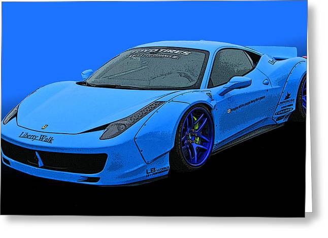 Pale Blue Ferrari 458 Italia Greeting Card