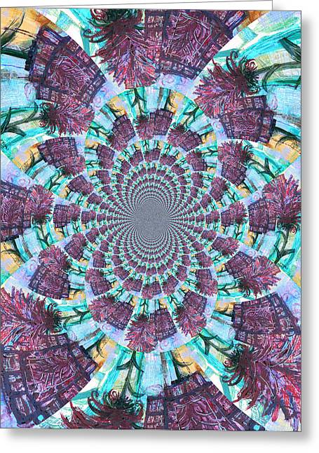 Palette Knife Flowers Kaleidoscope Mandela Greeting Card by Genevieve Esson