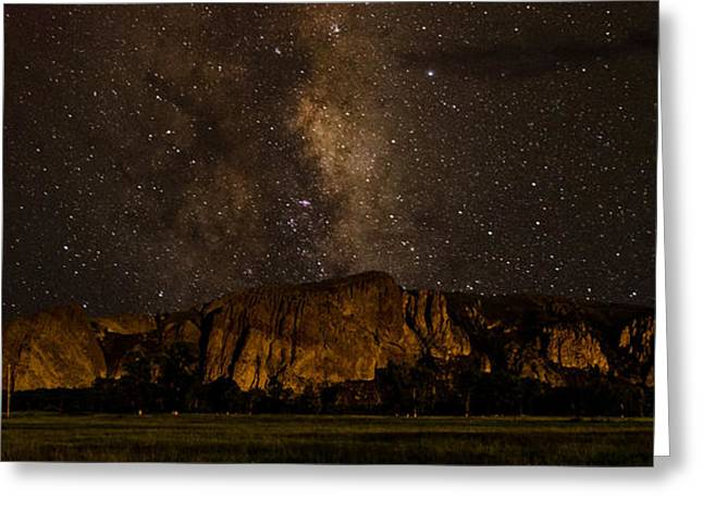 Palisades Under The Cosmos  Greeting Card by Mike Schmidt
