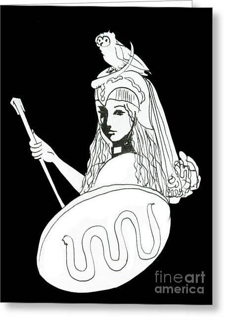 Pallas Athena Ink Drawing With Attributes Greeting Card