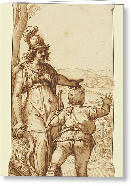 Pallas Athena Shows Taddeo The Prospect Of Rome Federico Greeting Card by Litz Collection