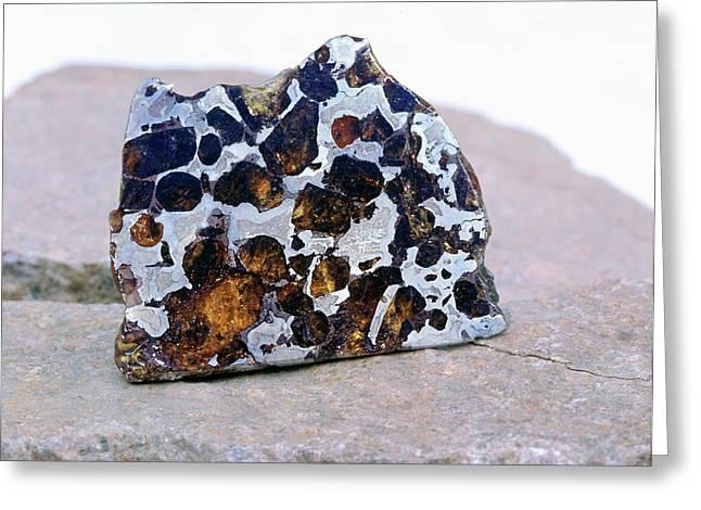 Pallasite Meteorite Fragment Greeting Card