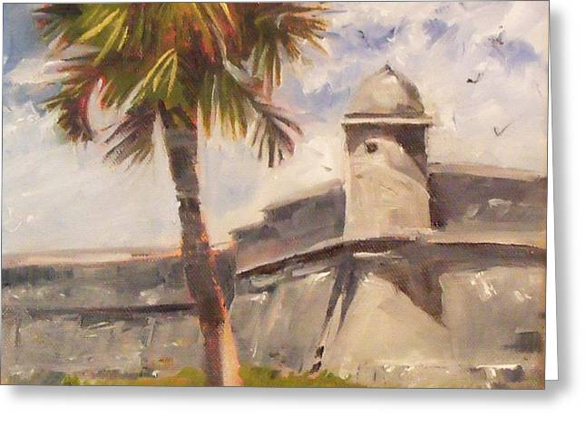 Palm At St. Augustine Castillo Fort Greeting Card