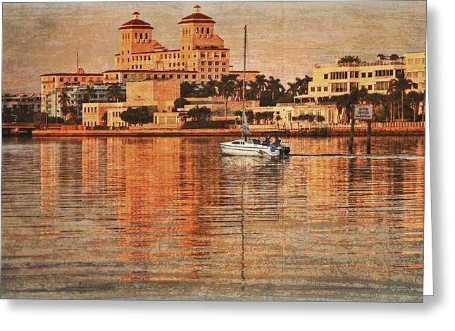 Palm Beach At Golden Hour Greeting Card by Debra and Dave Vanderlaan