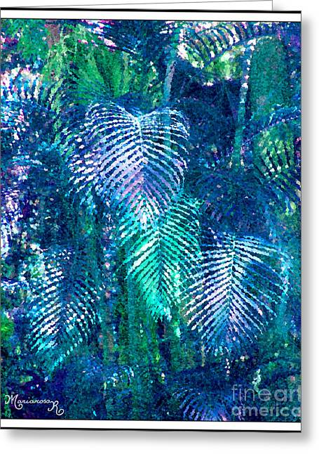 Palm Leaves Greeting Card by Mariarosa Rockefeller