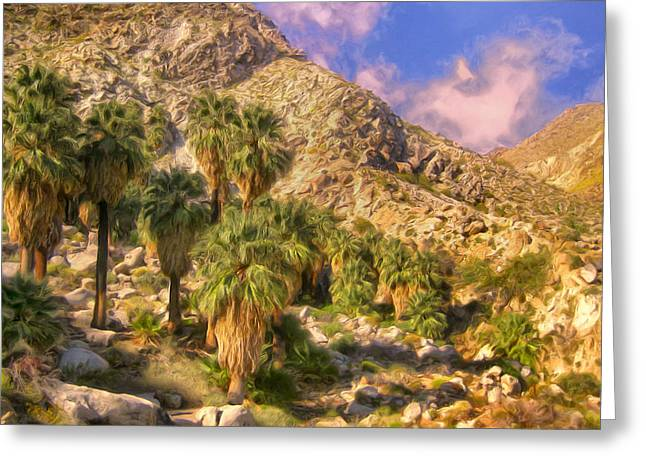 Palm Oasis In Late Afternoon Greeting Card