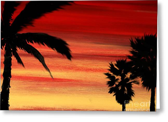 Palm Set Greeting Card by Ryan Burton