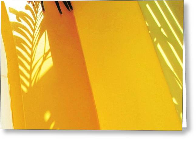 Palm Shadow On Yellow Wall - Square Greeting Card
