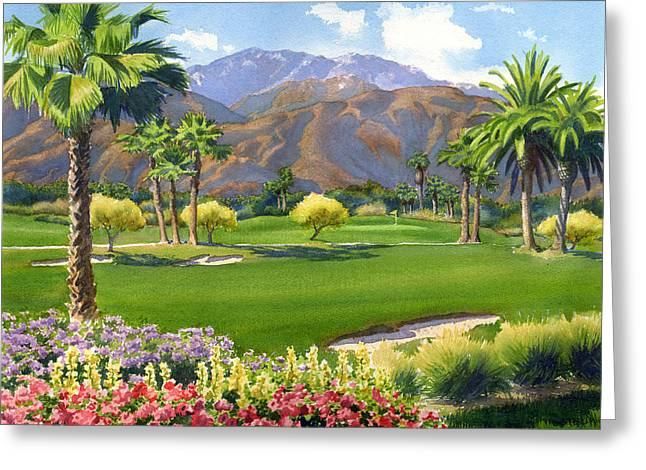 Deserts Greeting Cards - Palm Springs Golf Course with Mt San Jacinto Greeting Card by Mary Helmreich