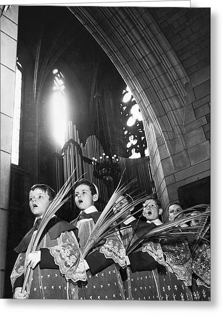 Palm Sunday Choir Boys Greeting Card by Underwood Archives