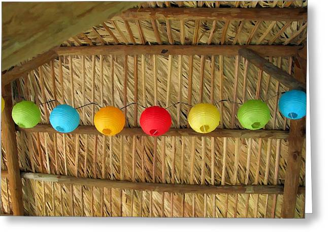 Palm Thatch And Party Lights Greeting Card by Buzz  Coe
