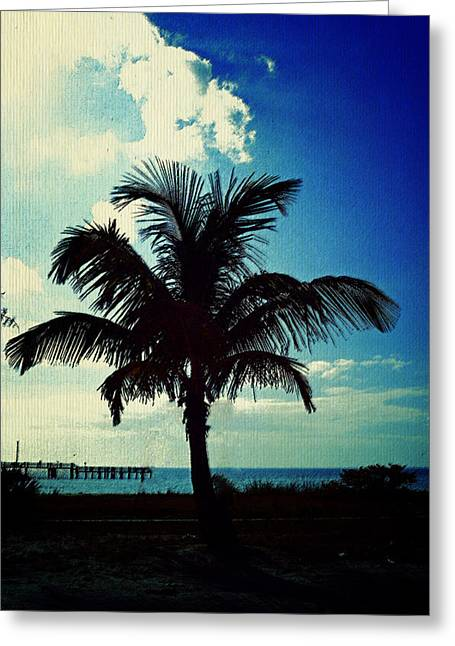 Palm Tree Blues Greeting Card by Laurie Perry