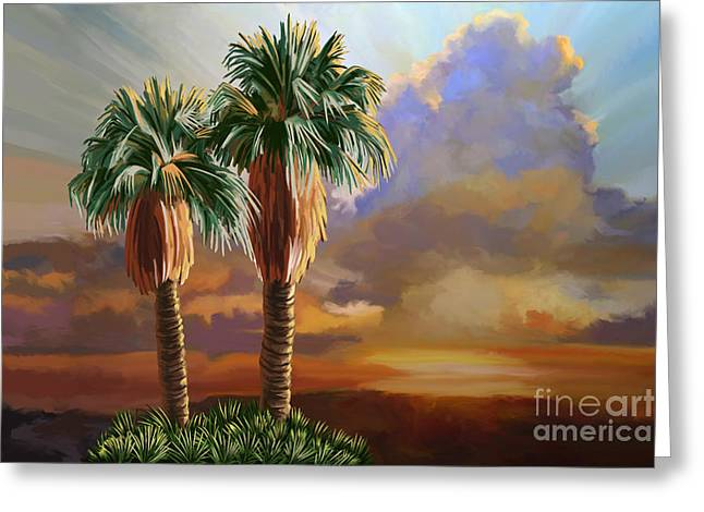 Greeting Card featuring the painting Palm Tree Cabo Sunset by Tim Gilliland