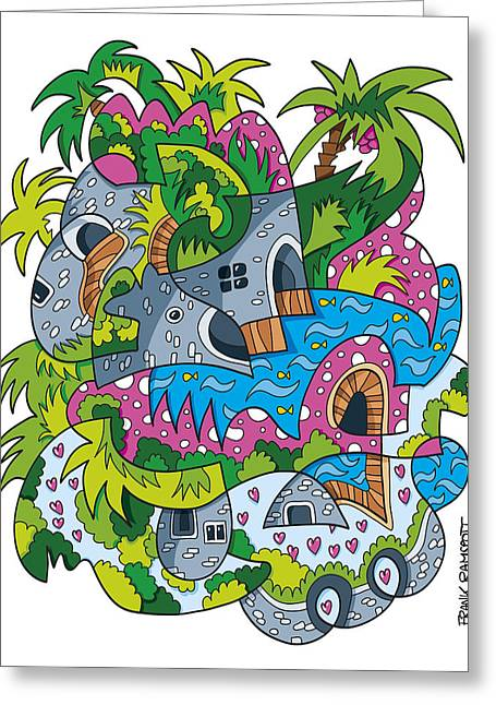 Palm Tree Fantasy Landscape Doodle Greeting Card by Frank Ramspott