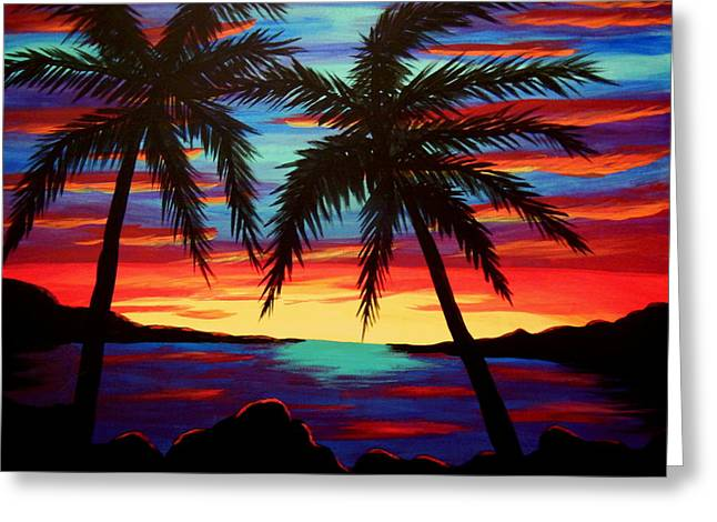 Palm Tree Sunset Greeting Card by Virginia Forbes