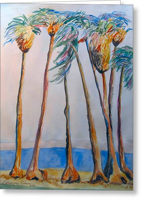 Palm Trees Greeting Card by Esther Newman-Cohen