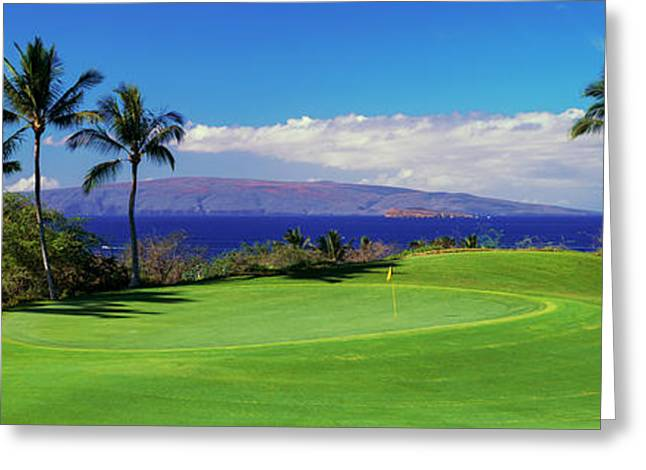 Palm Trees In A Golf Course, Wailea Greeting Card by Panoramic Images
